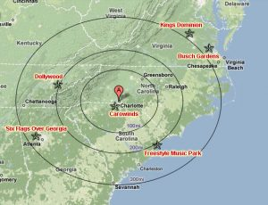 Theme Parks within Driving Distance of Charlotte NC (Click to Enlarge)
