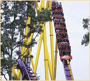 Apollo's Chariot drops riders 210 feet to a river below.