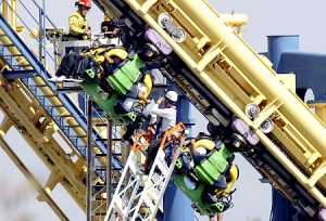 Riders Stranded on Invertigo Roller Coaster at Great America
