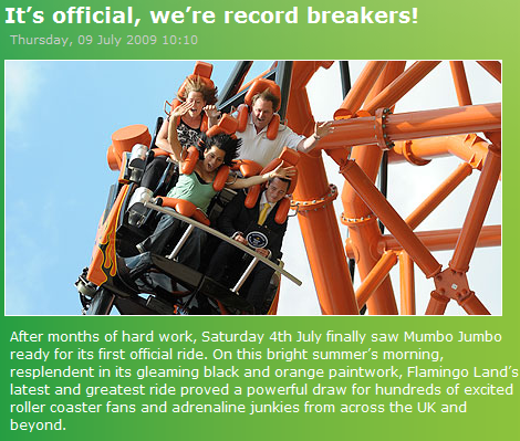 Mumbo Jumbo - The World's Steepest Roller Coaster
