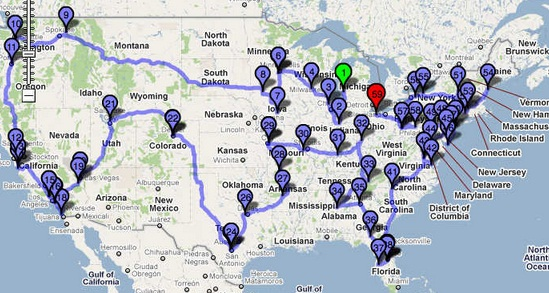 Roller Coaster Tour Route Map