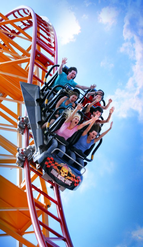Dare Devil Dive's 95-Degree Drop - Six Flags Over Georgia