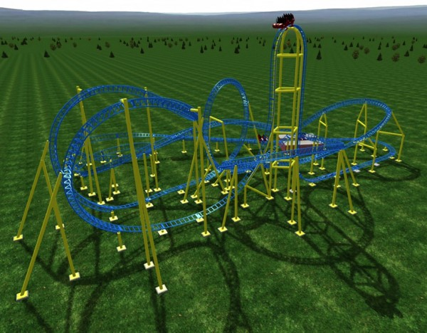 Impulse Roller Coaster Rendering - Knoebels - 2015