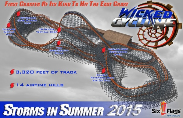 Wicked Cyclone - Six Flags New England - 2015 Roller Coaster - Layout