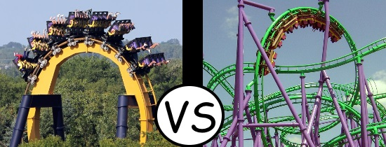 Batman The Ride - Six Flags Great America vs Jokers Jinx - Six Flags America - Roller Coasters
