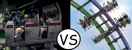 Dark Knight Coaster vs Joker 4D Coaster - Six Flags