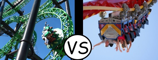 Green Lantern First Flight - Six Flags Magic Mountain vs Superman Ultimate Flight Discovery Kingdom