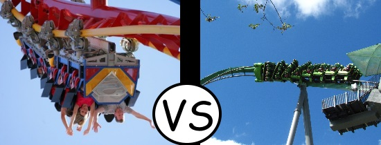 Superman-Ride-of-Steel-Six-Flags-New-England vs Hulk Coaster Islands of Adventure