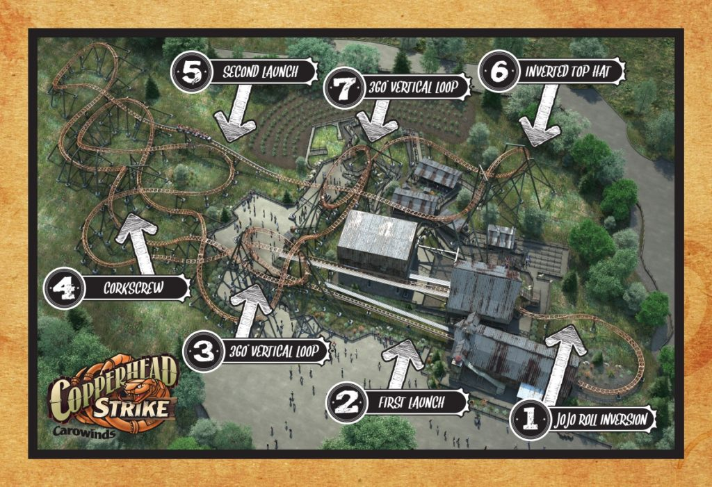 Copperhead Strike - Carowinds - Roller Coaster - Layout and Features