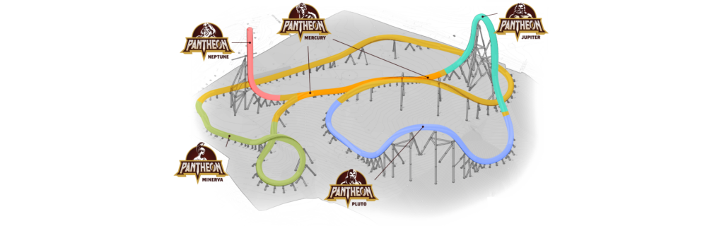 Pantheon Roller Coaster Layout - Busch Gardens